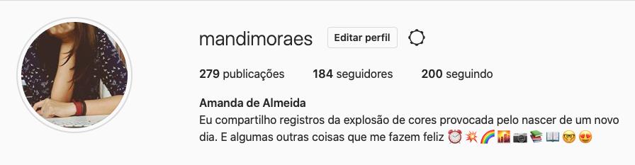 perfil de amanda de almeida no instagram
