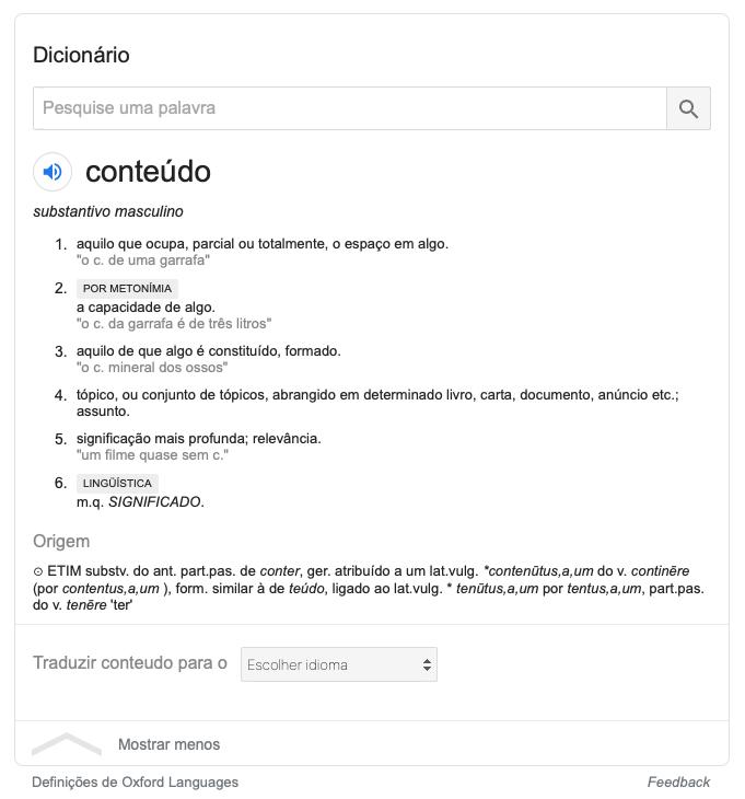 Definição da palavra conteúdo no dicionário do Google